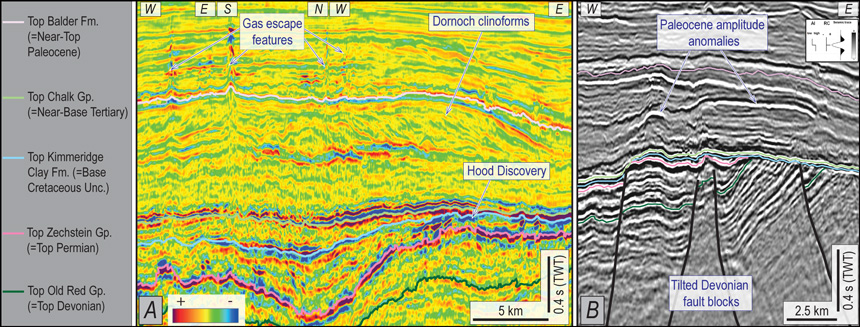 Figure 3. MC3D-Q15-2014 GeoStreamer (ESP). (A) Post-stack run-sum showing possible gas escape features; (B) Full-stack Paleocene amplitude anomalies and Devonian fault blocks.