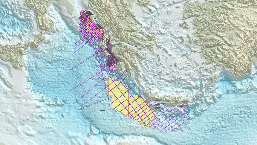Greece offshore acreage and seismic coverage 2017 licencing