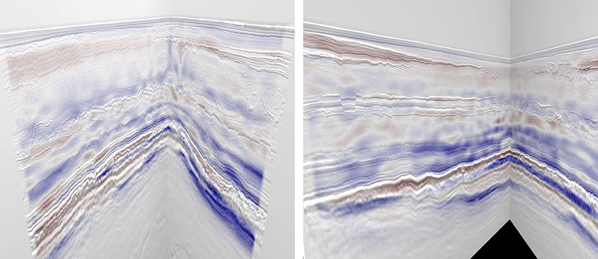 FWI model differences co-rendered on an inline-crossline intersection. Image courtesy of Siccar Point Energy Ltd, Chevron North Sea Ltd, INEOS, Shell UK and Suncor Energy
