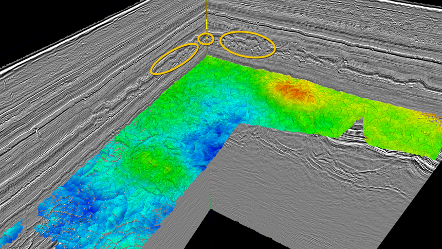 Example of an auto-tracked Cretaceous horizon (from the PGS GRVLIN2012 dataset). Easily correlatable reflectors make the mapping process more efficient, enabling the interpreter to extract additional information for a better geological understanding. A sandy section in the well is highlighted and several packages that appear to stand out due to the apparent shaded relief of the broadband data. It is reasonable to suggest that these sections also represent sandy packages due to the similar seismic character.