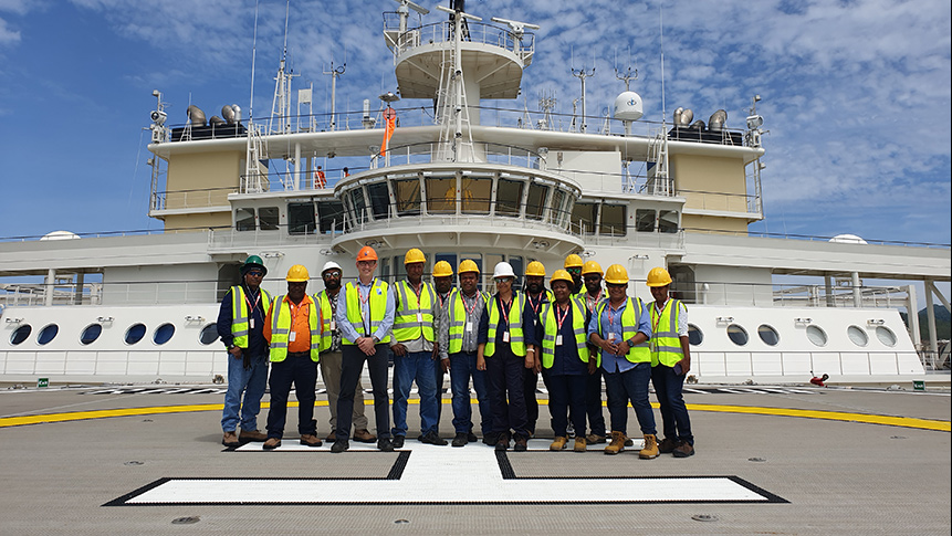 PGS hosted PNG Department of Petroleum and Energy officials onboard the Ramform Hyperion: PGS hosted PNG Department of Petroleum and Energy (DPE) officials and industry guests onboard the vessel