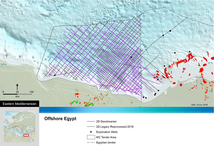 PGS' seismic data coverage in the western zone of Egypt's territorial waters in the Mediterranean Sea.