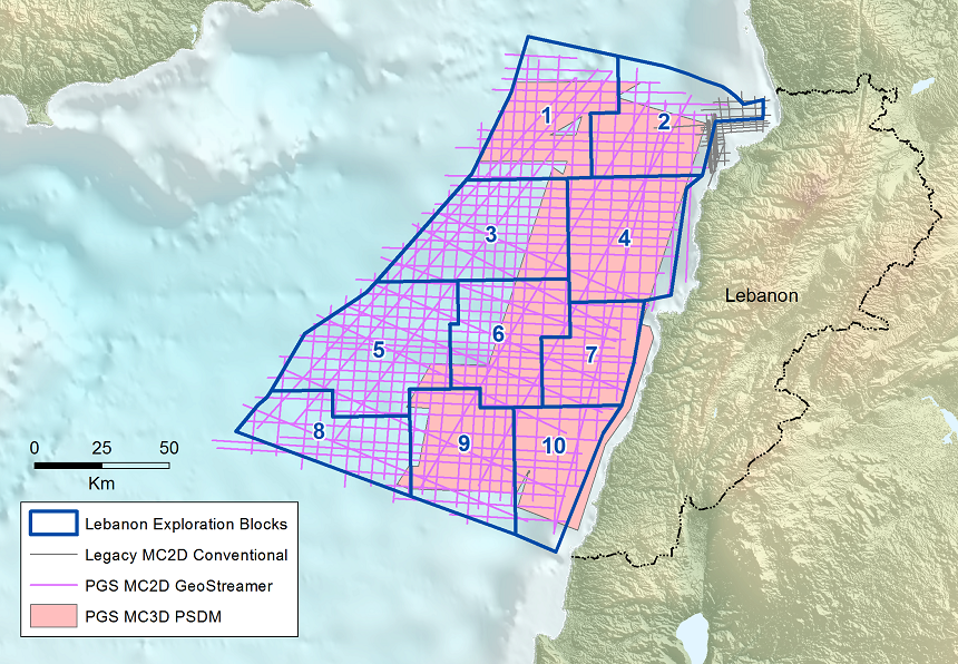 Exploration blocks and PGS seismic data coverage offshore Lebanon