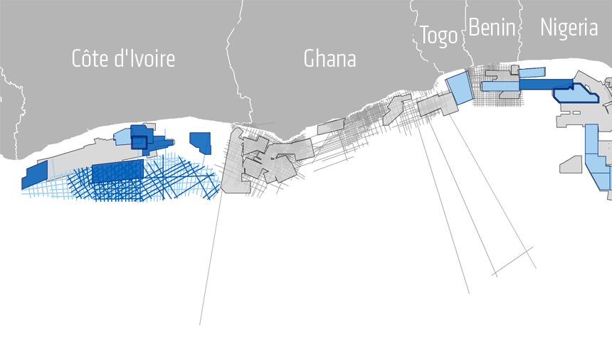 Figure 2 Continuous PGS data library across West Africa Transform Margin