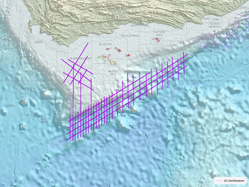Broadband 2D dataset over South Africa's Outeniqua and Bredasdorp Basins