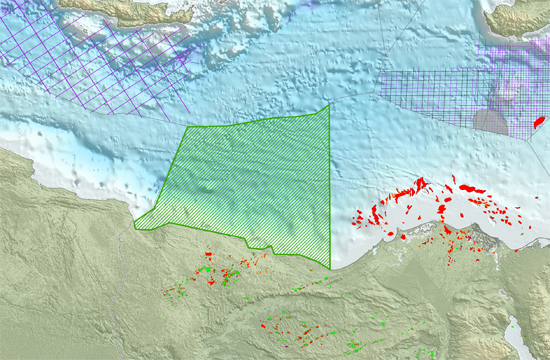 Area in green indicates extent of the MultiClient agreement with EGAS