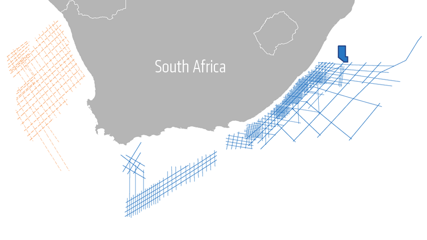 New 2D survey expands PGS data library offshore South Africa and compliments existing data sets.