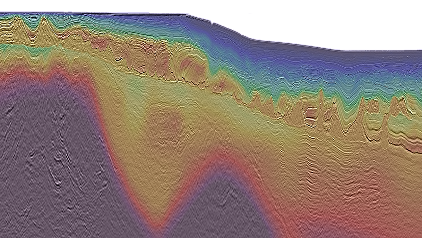 Congo MegaSurveyPlus overlayed by interval velocity provides a clearer image across the margin