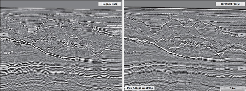 Figure 1: GeoStreamer data deghosting and dephasing; Legacy PSTM (left) and Access Westralia PSDM (right).  Note the significantly enhanced geological texture and resolution on the right.