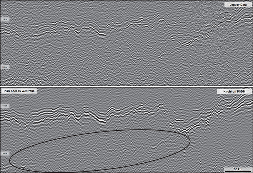 Figure 6: Imaging improvements in the deep; Legacy PSTM (top), Kirchhoff PSDM (bottom)