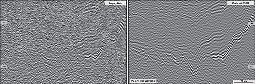 Figure 8: Imaging improvements in the deep; Legacy PSTM (left), Kirchhoff PSDM (right)