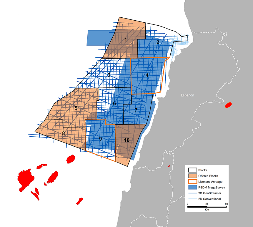 PGS MultiClient data library offshore Lebanon