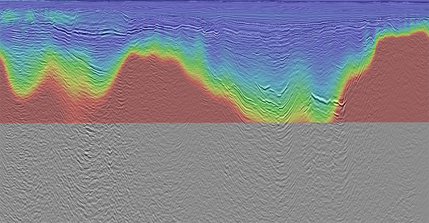 Horizontal resistivity down to 5km showing structural conformance with underlying 2D seismic from Fastnet Basin