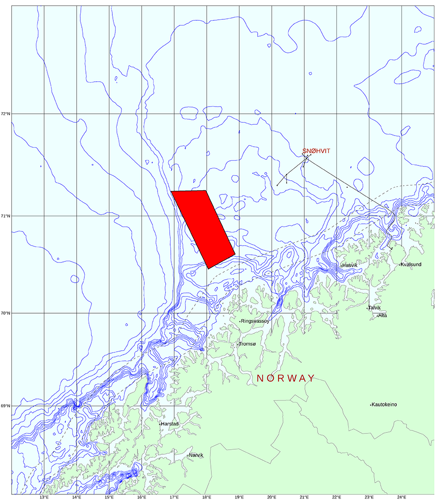Coverage map for 2017 survey in Harstad Basin, Barents Sea