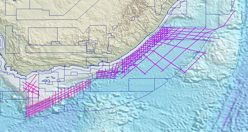 South African MultiClient 2D data library, with the latest acquisition (pink) complementing the existing 2D survey (purple) across the basin