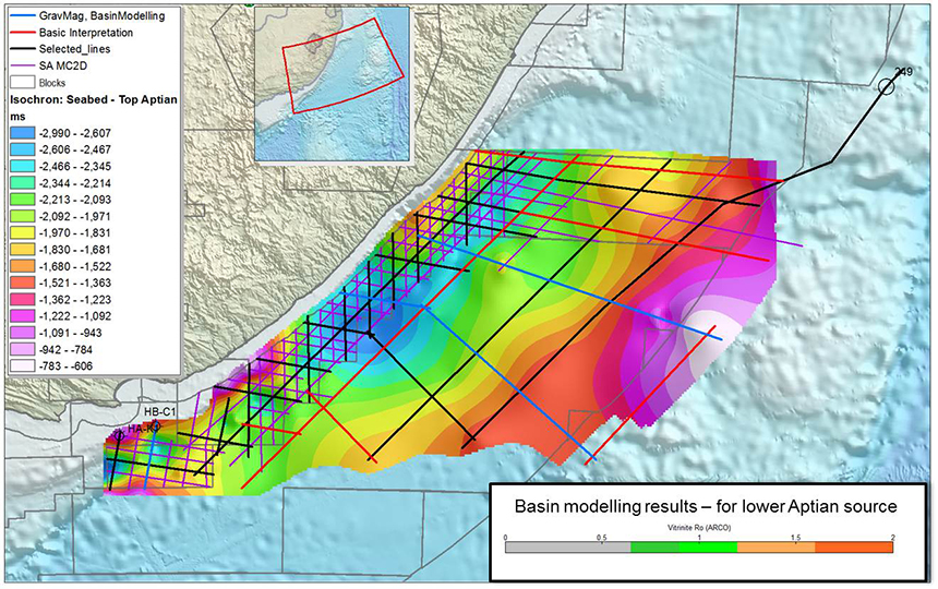 Basin modelling shows the Cretaceous source rock is mature over a large portion of the offshore area