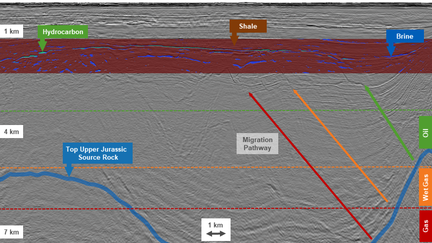 There are indications of hydrocarbon on the prestack GeoStreamer seismic data when using DIG real-time rock physics modeling with input from the latest rockAVO Barents Sea well Atlas. The hydrocarbon is sourced from mature Cretaceous source rock in the oil and gas windows and migrates upward to high porosity and permeability Paleocene sandstone reservoirs.