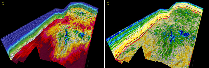 FWI model (left) and the resulting absolute impedance volume (right) from the Barents Sea