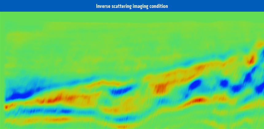 FWI velocity model updates derived using the conventional crosscorrelation imaging condition (upper) and the inverse scattering imaging condition (lower).  Most of the high wavenumber detail in the upper velocity model update is false due to artifacts of the migration isochron. The lower velocity model update is generated using the new PGS FWI kernel is the correct representation of the geology
